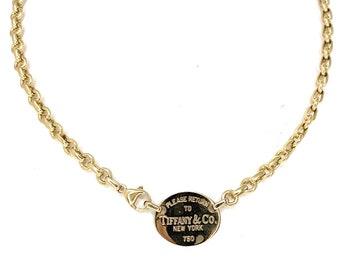 53d1665bc Tiffany & Co. 18K Yellow Gold Return To Tiffany Oval Tag Choker