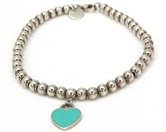 5a9bedd02 Tiffany & Co. Return To Tiffany Sterling Silver Blue Enamel Mini Heart Tag  Bead Bracelet