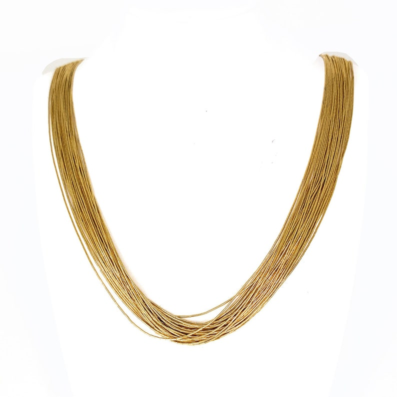 af274991f1974 GOLD PLATED Liquid Silver 30 Strand Sterling Silver Necklace