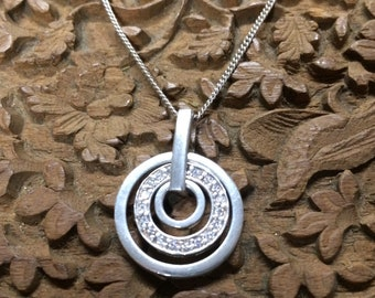 Silver 925 Necklace, Rings Design, Eternity Circles, Crystal Necklace, 3 Circle