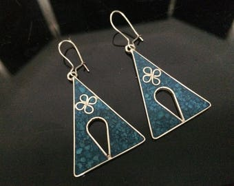 Vintage Earrings, Blue Stone, Silver Inlay, Mexico, Flower Inlay, Pierced Ears, Geometric Design, Blue Green, Mexican Silver
