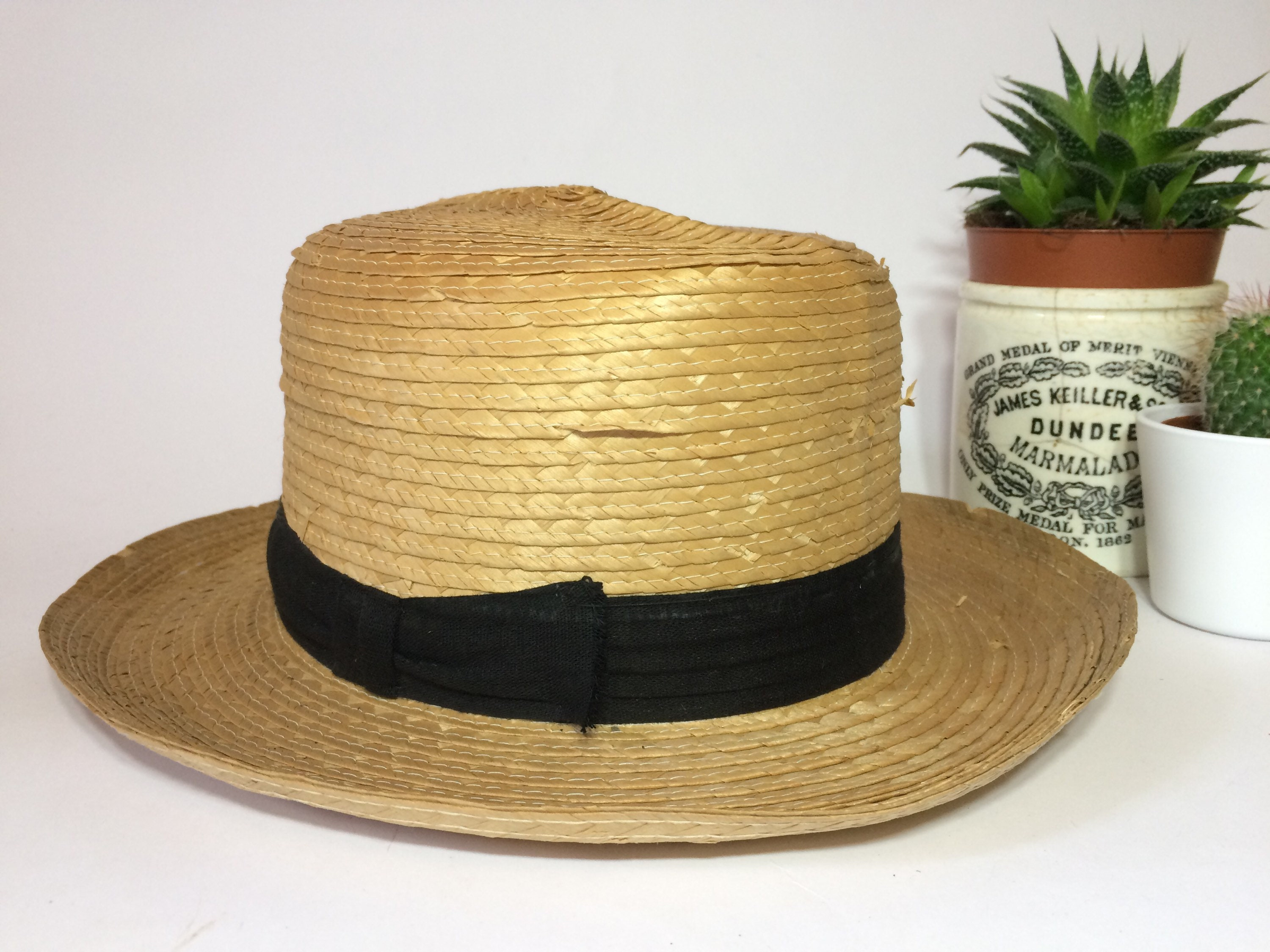 Antique Straw Boater Vintage Straw Hat Summer Festival Hat  2c73c1a905a