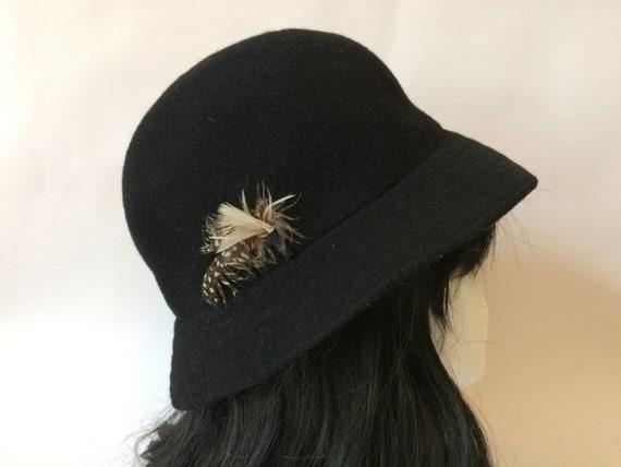 1960s Black Felt Hat Kangol Winter Hat Wool Felt Hat Ladies  52d6a120a531