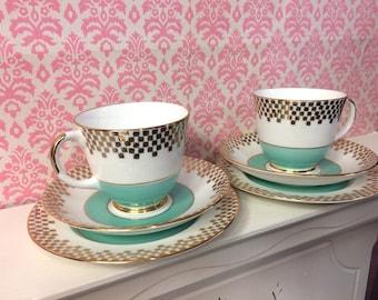 Tea Cup Trio, Bone China Tea Cups, Cups and Saucers, Gold Filgree, Check Pattern, Mint Green, English Tea, Harrowby England, Tea Party