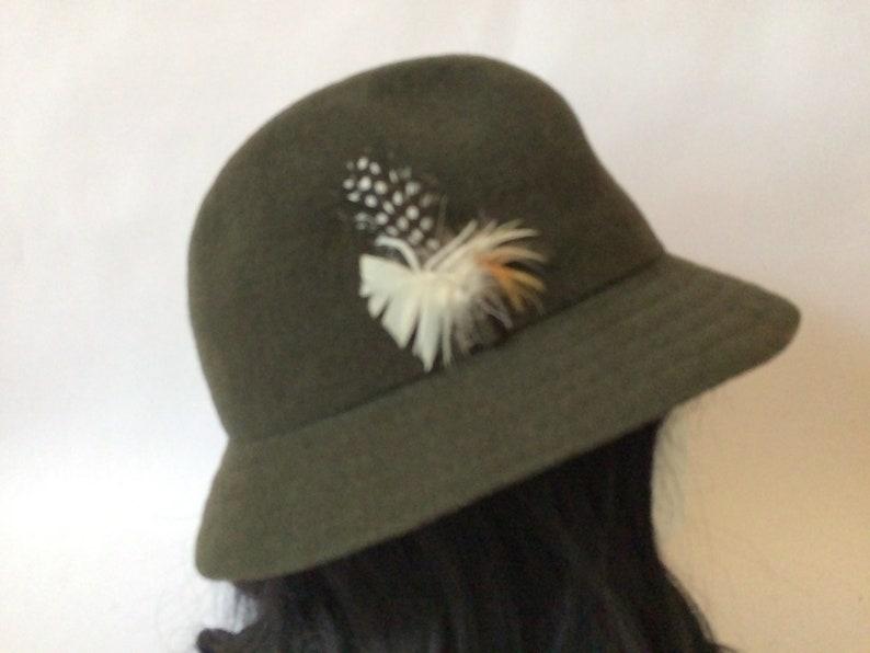 d91c5568383 Vintage Felt Hat Kangol Winter Hat Olive Green Wool Hat