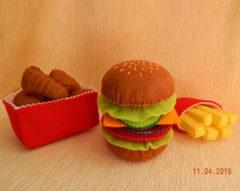 Felt hamburger set. Hamburger with fries and chicken nuggets - play food set. Felt hamburger. Felt food.