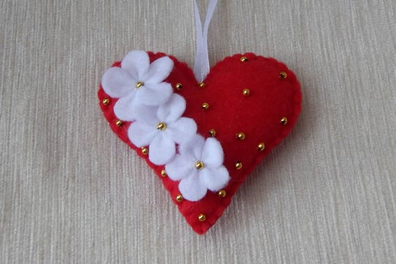 Felt Heart Ornament Valentine S Day Ornament Christmas Etsy