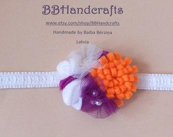 Baby headband. Felt flower headband. Felt ornaments headband. Flower ornament headband. Felt flower head wreath. Valentine's Day headband.