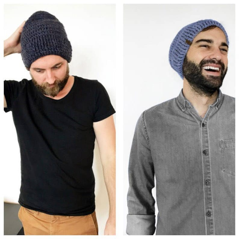 soft knitted wool hat Adult or boy with ribbed trim Mens Slouch Alpaca Beanie \u2022 Handmade crochet
