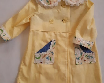 Size 2 girl's coat, vintage damask coat, matching coat and dress, Princess Charlotte inspired, hand-made, one-of-a-kind, boutique clothing