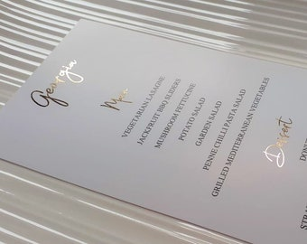 Gold Foil DL Menu Place Cards