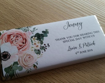 Place Card Thank You Chocolate Bar Wrappers With Floral Side Design