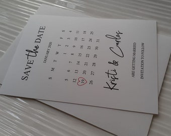 Save The Date Calendar Cards (White or Kraft)