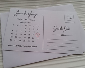 Postcard Save The Date Calendar Cards | 2 print options available
