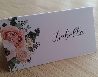 Floral Design Personalised Wedding Place Cards