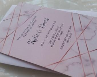 Pink Marble Engagement Invitation | 18th, 21st, 30th, 40th, 50th, 60th, Wedding, Birthday Invitation