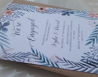 Engagement Invitation (Leaf or Floral Design)