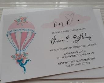 Hot Air Balloon First Birthday Invitation | Girl