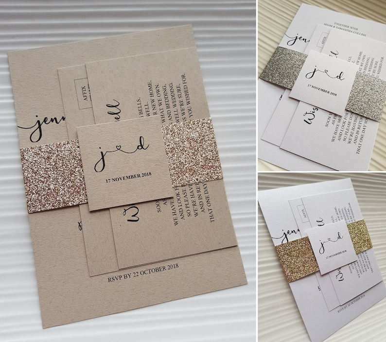 Wedding Invitation Set With Glitter Belly Band Includes Rsvp Post Card Wishing Well Card