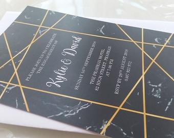 Black Marble Engagement Invitation | 18th, 21st, 30th, 40th, 50th, 60th, Wedding, Birthday Invitation
