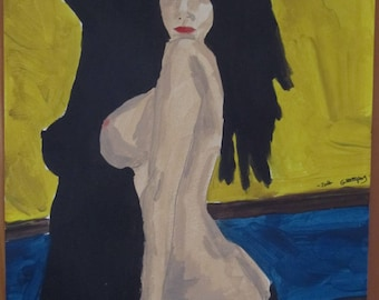 """feminine nude acrylic painting """"Naughty lounge"""" signed G.Vanspey A4 drawing"""