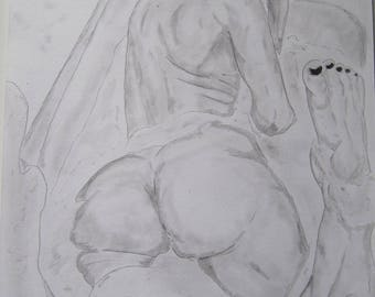 "nude pencil drawing female erotic ""5460"" fine art"