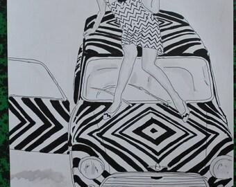 "drawing on mini car ""Psycho"""