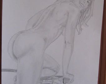 "drawing original nude pencil femin erotic fine art ""Walker"" A3 signed G.Vanspey"