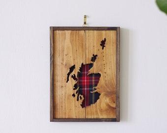 Wall mounted Scotland map red tartan, unique long distance Scottish Valentine gift, bridesmaid groomsmen gifts, Black Stewart wedding gift