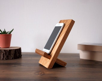 Wooden docking station, Home office wood iphone stand, rustic phone stand, zoom facetime gift, Lockdown gift for colleague coworker at home
