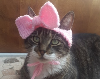 Bow Cat Hat, knit hat for cat, cat costume, halloween