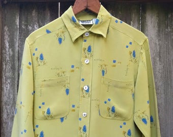 b72d326aa6271 Chicos Design Green Silk Shirt Ecology Shirt Botanical Shirt Silk  Botanical Fern Green Olive Green Vintage Chicos 29