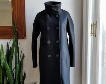 "90s Tahari Stand Up Collar Black Wool Military Coat/90s Black Wool Cocoon Coat/Israeli Designer Wool Coat/Size 6/36""Long/40""Chest/18""Sleeve"