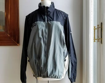 """Vintage Columbia Water Resistant Packable Windbreaker/Columbia Shell/Removable Sleeves/Omni Shield/Columbia Titanium/Size L/29""""Long/52""""Chest"""