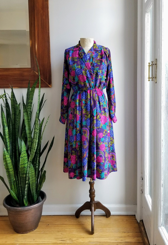 41e6f8ae3d0b 80s Floral Maxi Dress/Leslie Fay Office Dress/Pocket Maxi   Etsy