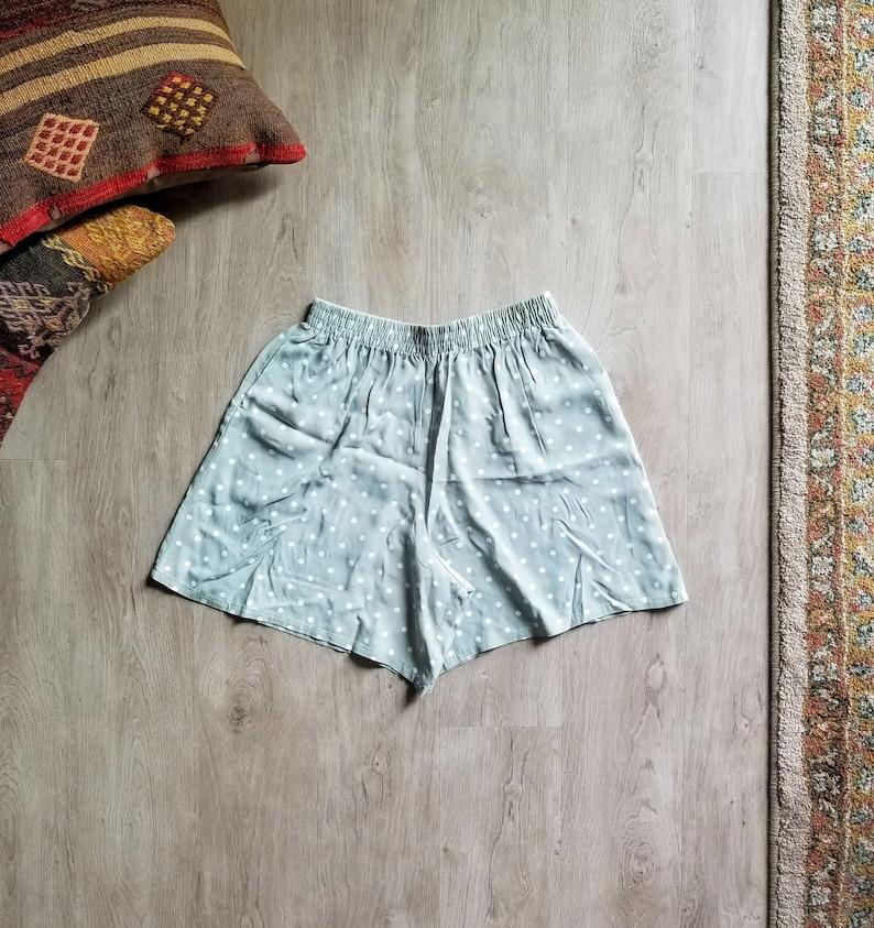 6169e433a 80's Fritzi High Waist Mint Elastic Polka Dot Shorts/Polka | Etsy