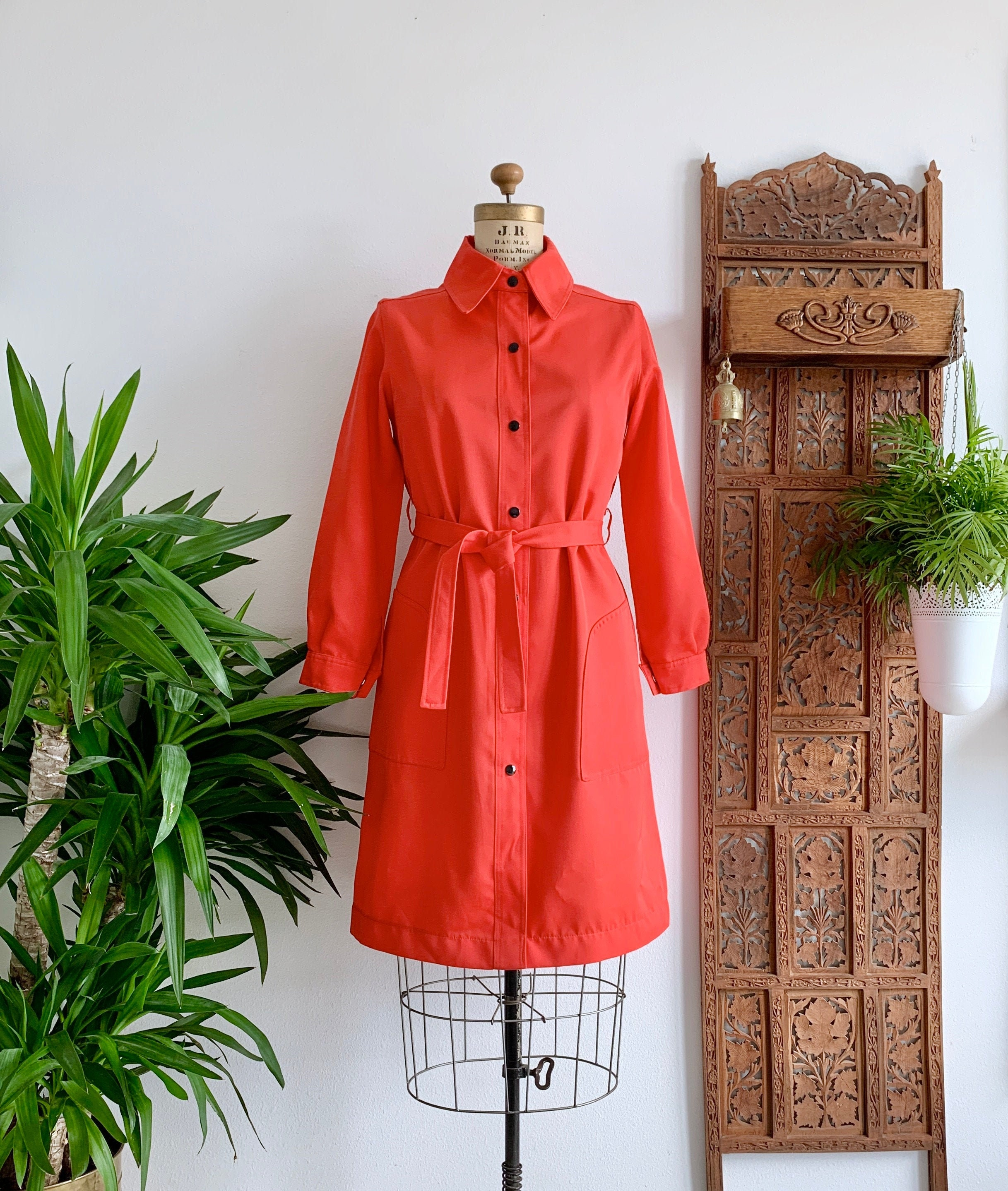 Vintage Scarf Styles -1920s to 1960s 60S Red Trench CoatMod Belted Polyester Wide Collar Swing CoatAll Weather A Line TopcoatRetro Red Raincoat41Long40Chest17Sleeve $0.00 AT vintagedancer.com