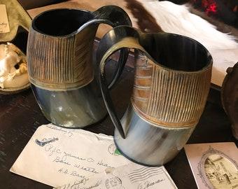 """Carved and Polished Natural Buffalo Horn Drinking Mug """"Loki's Tankard"""""""