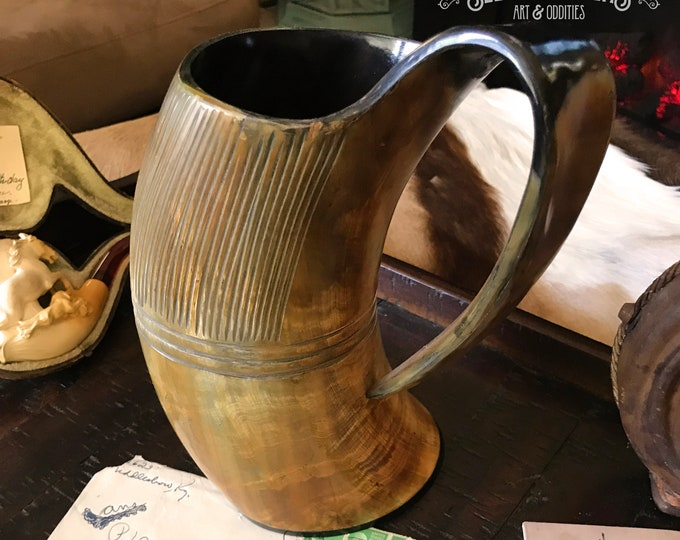 "XXL 2.5 Pint Natural Carved Buffalo Horn Mug ""Thor's Vessel"""