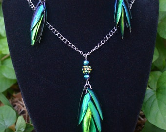 Iridescent Elytra Beetle Wing Cluster Necklace and Earrings
