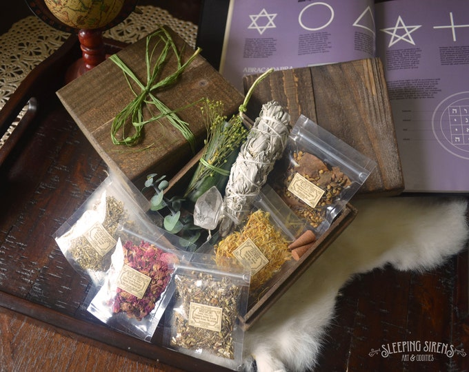 Fully Stocked Witches Apothecary and Casting Rustic Wooden Box