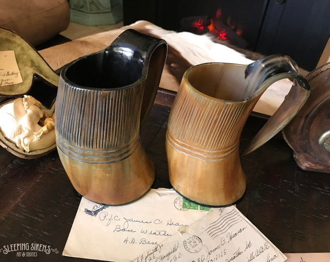 "Carved Natural Buffalo Horn Mug ""Midgard Hero's Tankard"""