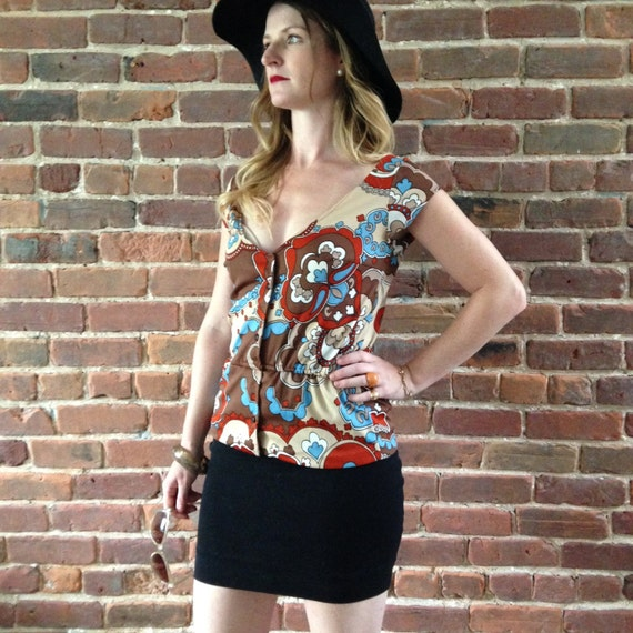 Vintage button up short sleeve psychedelic blouse