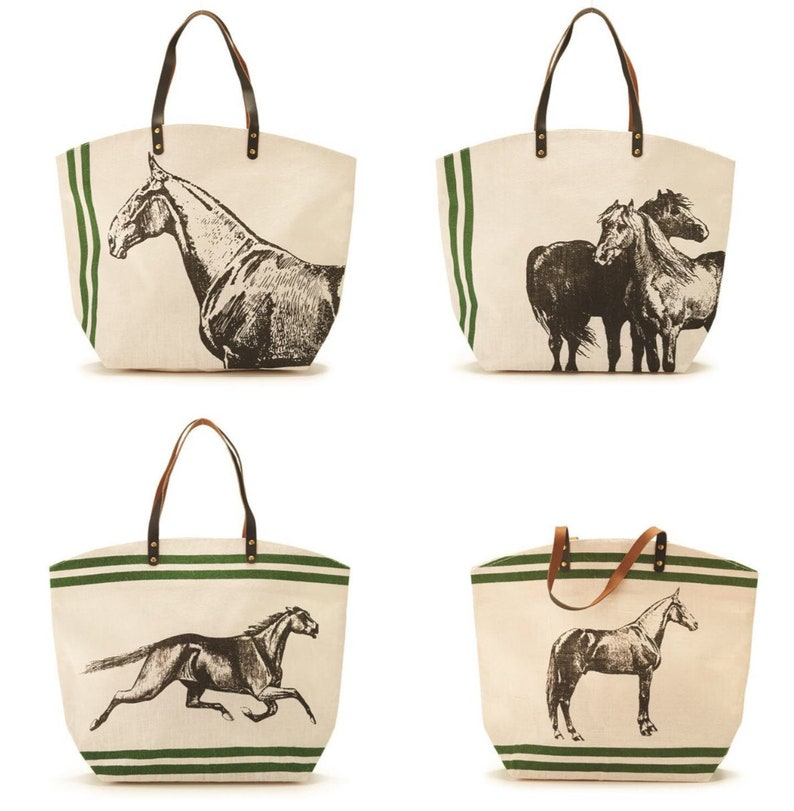 0848a93cc8e Horse Equine Jute tote bag with leather handles Choose from 4 designs