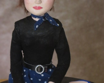 Young Audry Hepburn OOAK art doll