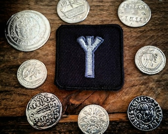 Silver Algiz Rune Patch Runic Biker Badge Runology Viking Runes Eldar Futhark Norse Magick Heathen Pagan Patches