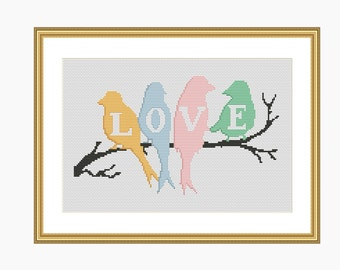 Cross Stitch Pattern, Modern cross stitch - LOVE BIRDS cross stitch chart - Downloadable PDF