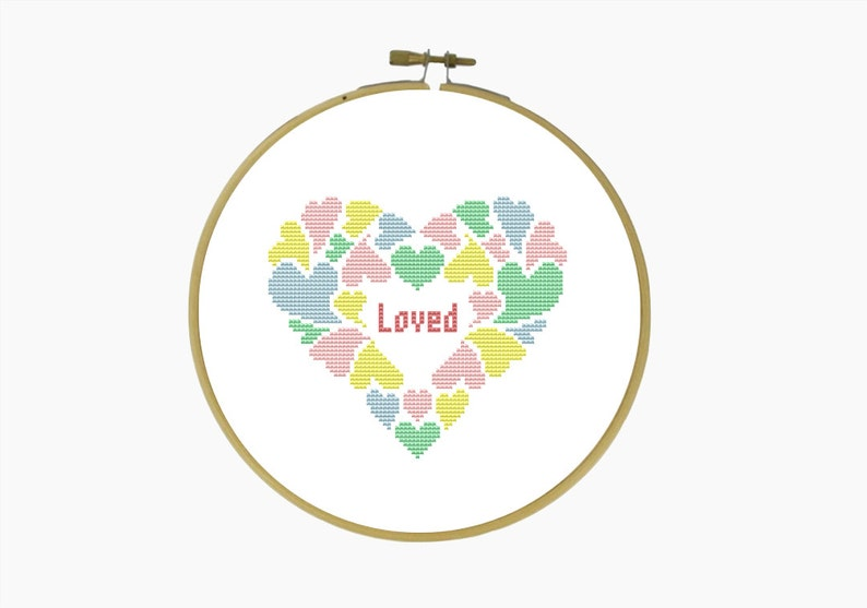/'LOVED/' cross stitch pattern Modern cross stitch Downloadable PDF Cross Stitch Pattern