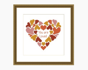 Cross Stitch Pattern, Modern Cross Stitch - MY HEART cross stitch chart - Instant Download PDF