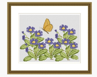 Cross Stitch Pattern, Modern Cross Stitch - Forget-me-not Butterfly Cross Stitch Pattern